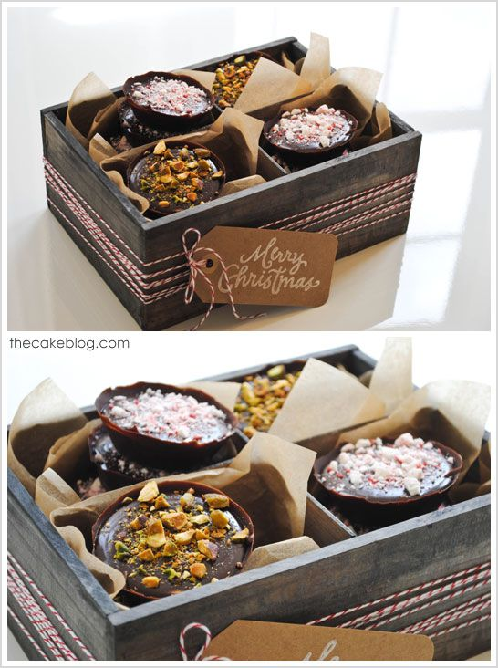 """Super simple chocolate truffle mini tarts. """"The crispy tart-like shell is made of pure dark chocolate...The filling is a creamy and smooth chocolate ganache, just like a traditional truffle center. If you love chocolate, this one's for you!"""""""