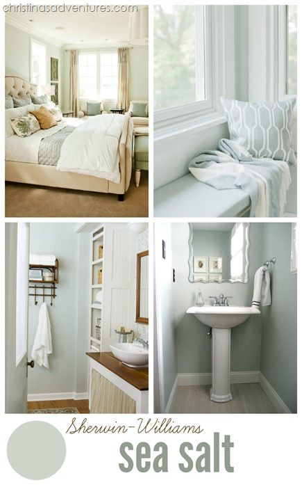 "Sherwin Williams ""Sea Salt"" - an amazing gray/blue that's perfect for coastal inspired room designs.  It acts as a neutral color and pairs really well with wood tones and lots of white! Click through to see more beautiful examples + 2016's best neutral paint colors!"