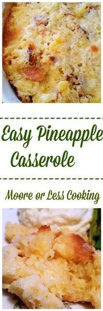 Easy Pineapple Casserole~ Only 5 ingredients needed to make this light and fluffy side dish, perfect served with ham, pok roast or beef roast. #sharethesunshine