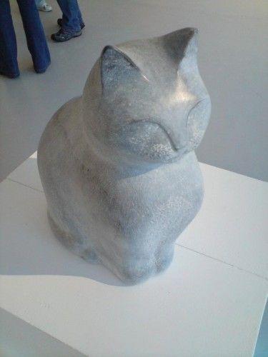 Kilkenny Limestone, carved stone cat sculpture