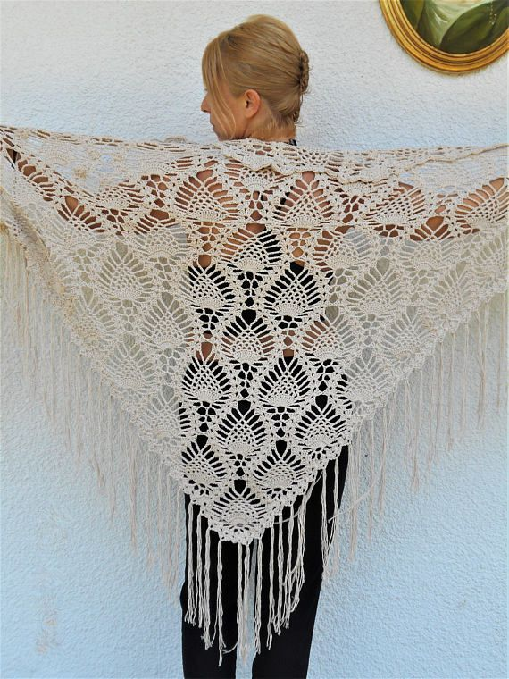 Organic Cotton Clothing Crochet Shawl Lace Shawl Boho