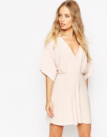 """Kimono plunge mini dress by Asos. Evening dress by ASOS Collection, Lightweight soft-touch fabric, Plunge v-neckline, Stretch waist, Regular fit - true to size, Machine wash, 96% Polyester, 4% Elastane, Our model wears a UK 8/EU 36/US 4 and is 175cm/5'9"""" tall.  #asos #dresses"""