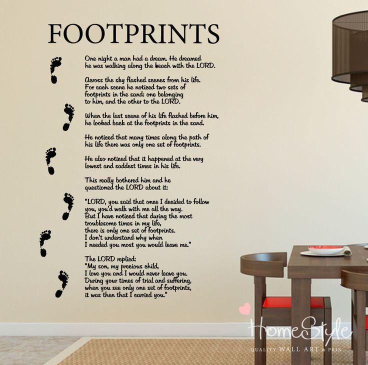 Footprints In The Sand Poem Wall Art - Elitflat