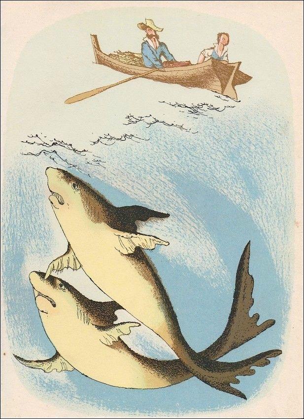 Jiří Trnka - Dva žraloci (litografie)