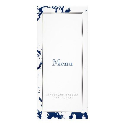 Navy Blue Marble Silver & White - Custom Menu - marble gifts style stylish nature unique personalize