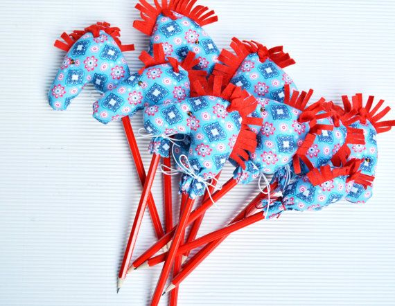 Mini Stick Horse Favors with pencils Hobby horse Party by penhands