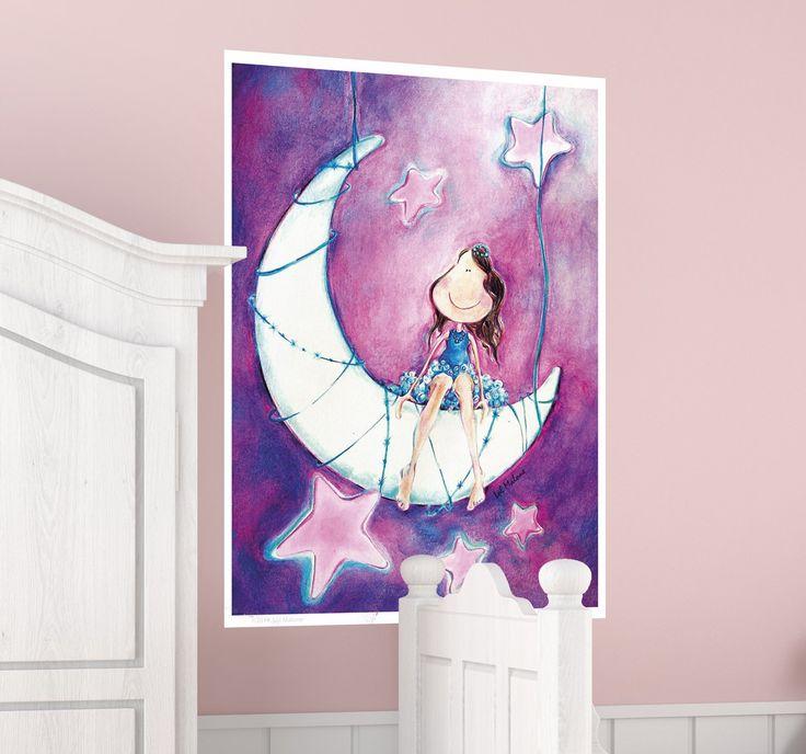 Wandtattoo Mond mit Mädchen im Schoß Wandsticker Kinderzimmer