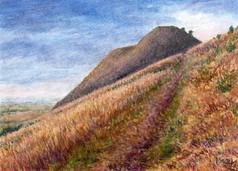 Basalt hill Raná in the Czech Central Mountains, North Bohemia. Watercolor and pastel by Jana Haasová