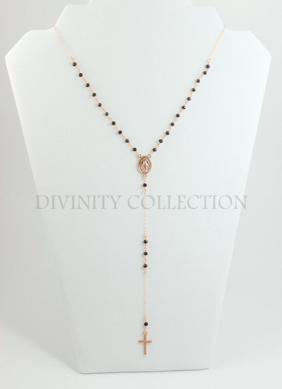 Rose Gold Rosary Necklace Black Women by divinitycollection