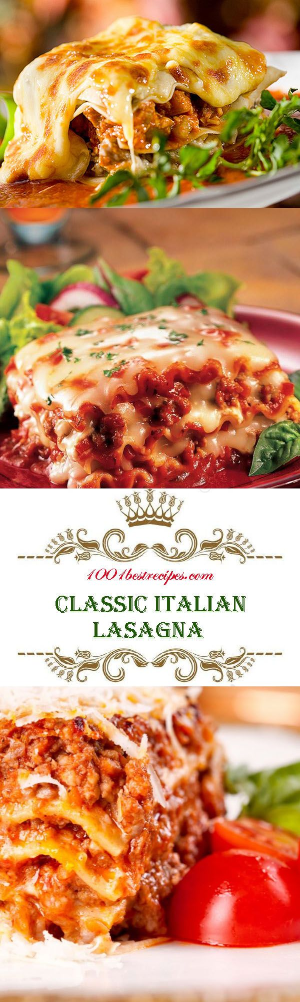 Classic Italian Lasagna. Classic Italian Lasagna - amazingly delicious Italian dish recognized throughout the world. Very satisfying, made from layers of dough and layers of meat or vegetable stuffing, with bechamel sauce. Ingredients: 600 g minced meat, 600 g Bolognese Sauce, 750 ml milk, 500 g hard cheese, 60 g butter,  2.5 tablespoons wheat flour, 2 tablespoons sunflower oil, 10 pieces sheets of lasagna (ready, dry). #1001bestrecipes #recipes #food #lasagna #italian