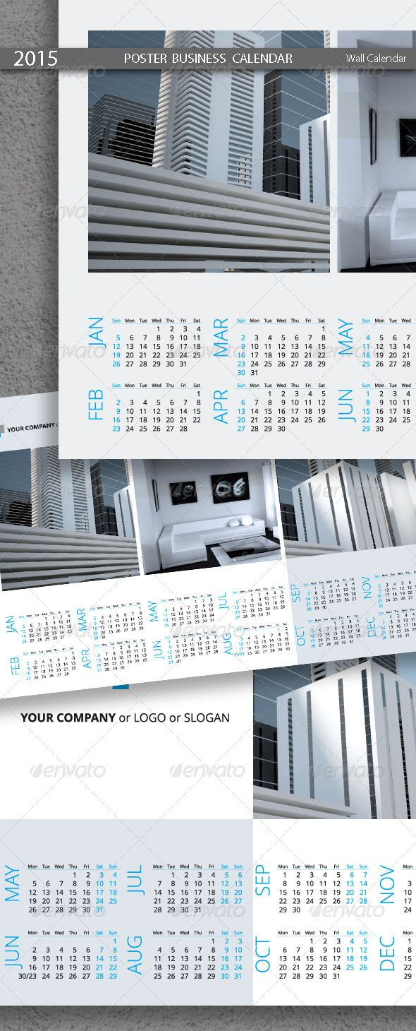 Poster Business Calendar Template 2015 (2014)  #GraphicRiver