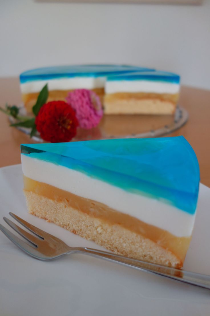 Blue Hawaii Torte. Beach Strand Kuchen