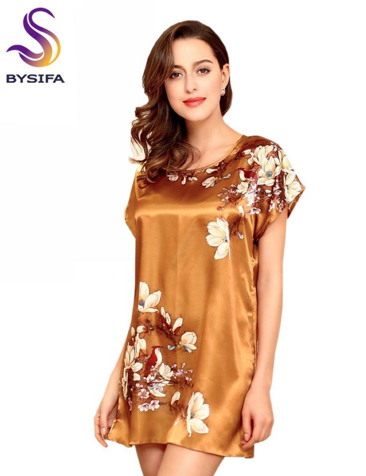 Кофе Золотой Шелковой Ночной Рубашке Летом Старинные Цветы Краткое Комфортно Дома Пижамы Моды Свободно Досуг Дамы Трусы