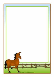 Horse-themed A4 page borders (SB7326) - SparkleBox