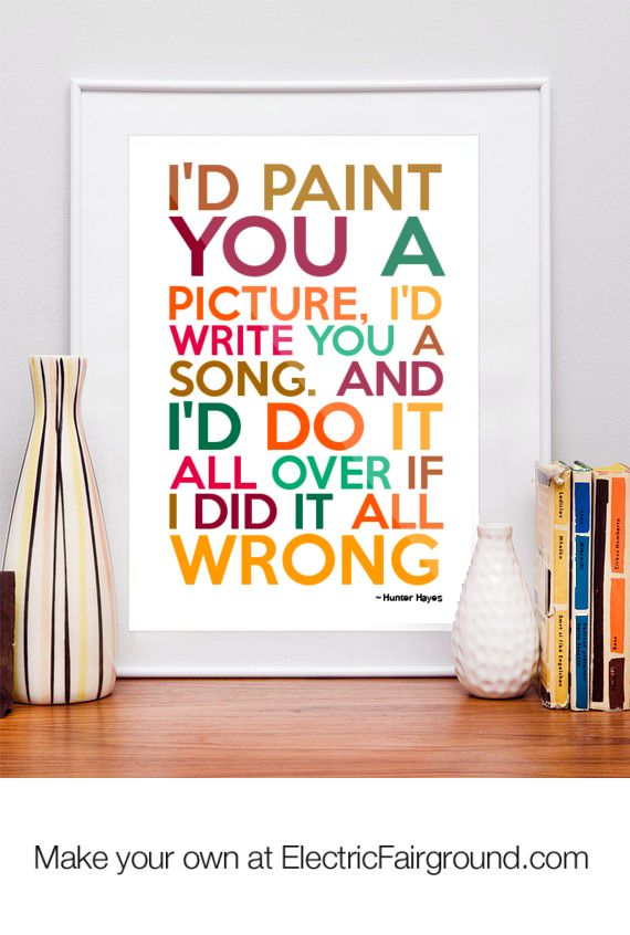 Hunter Hayes Framed Quote