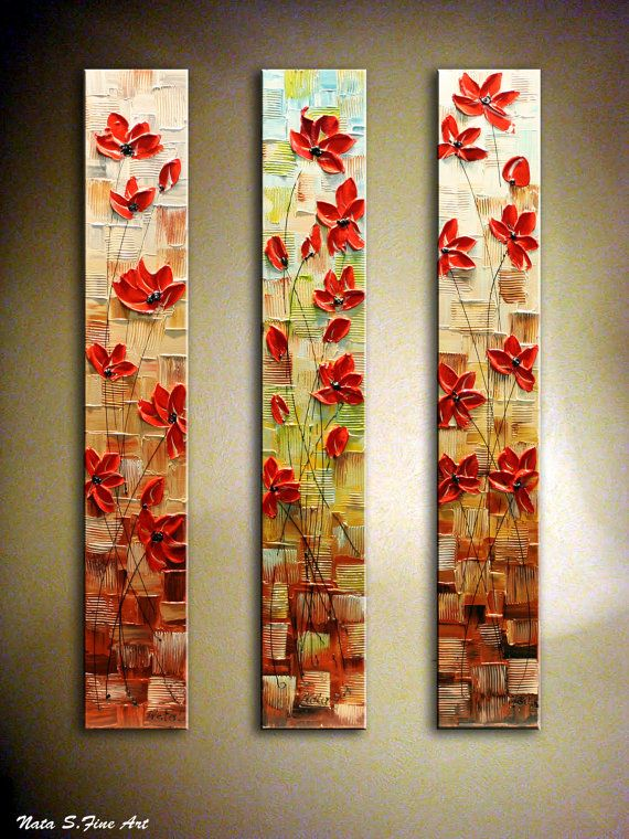 "Original Contemporary Painting Heavy Textured Modern Poppies Painting.Palette Knife.Triptych  36""  - by Nata S.  - COMMISSION PAINTING on Etsy, $300.00"