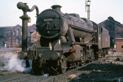 48196: Stanier 8F 48196 in the shed yard at Burton (16) on April 1st 1965. PHOTO: BILL WRIGHT