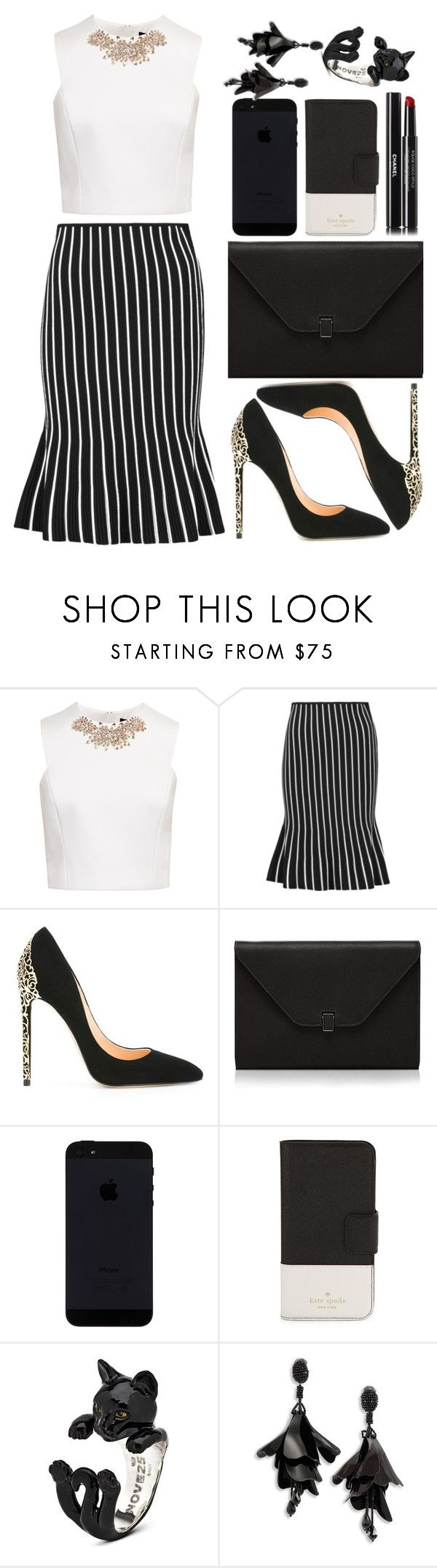 """""""Ted Baker Embellished Cap Sleeve Top, White"""" by faesadanparkaia ❤ liked on Polyvore featuring Ted Baker, J.W. Anderson, Cerasella Milano, Valextra, Kate Spade, Oscar de la Renta and Chanel"""