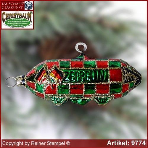 Christbaumschmuck, Zeppelin, Baumschmuck aus Lauscha Glasfigur, Glasform Sammlerstücke Lauschaer Glaskunst ®.