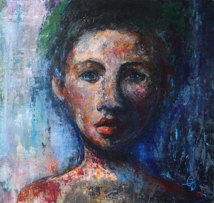 portrait bleu, huile 67 x 70