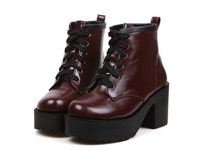 Casual Lace-Up Women's Platform Shoes With Solid Color Design