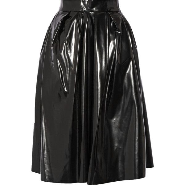 Marc Jacobs Vinyl skirt (£330) ❤ liked on Polyvore featuring skirts, mid calf skirts, shiny skirt, midi skirt, vinyl skirts and marc jacobs skirt