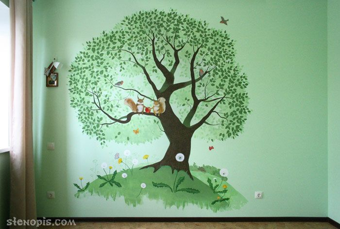 Художественная роспись стены в детской комнате, общий вид