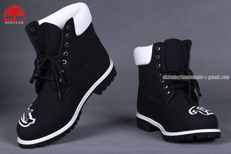 Timberland 6 Inch Men's Premium Boot Black White With Knitting Logo $78.00