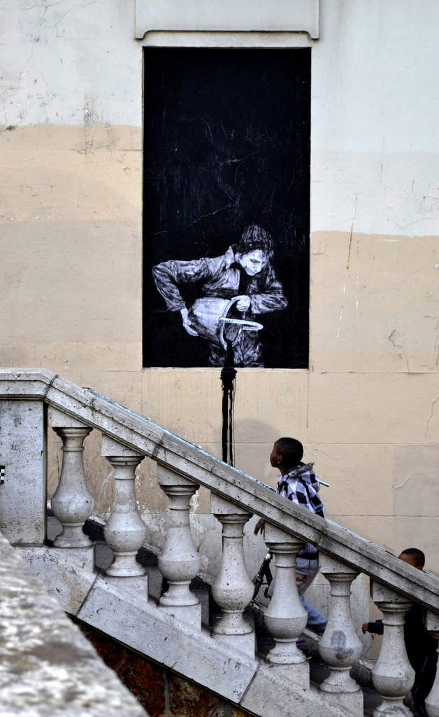LEVALET -Night and day Encre de chine sur kraft sur mur