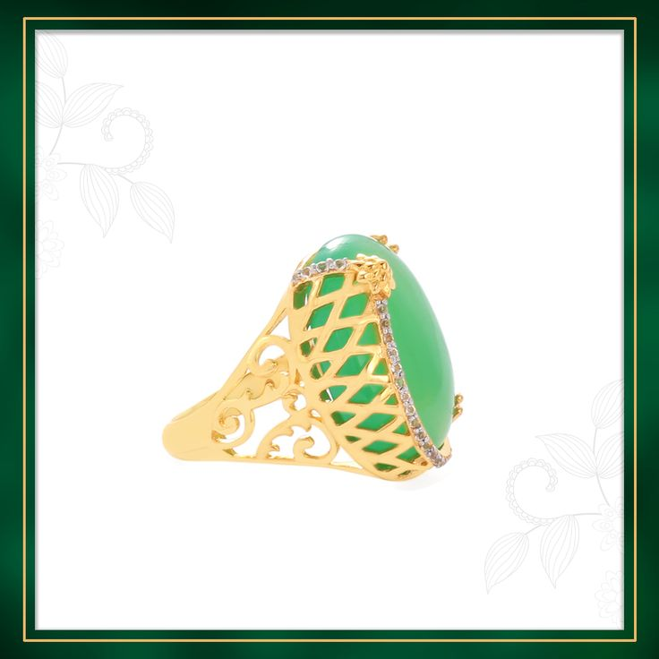 A Cocktail design Ring , set into Gold Plated Sterling Silver, with Chalcedony and White Topaz   Shipping across India