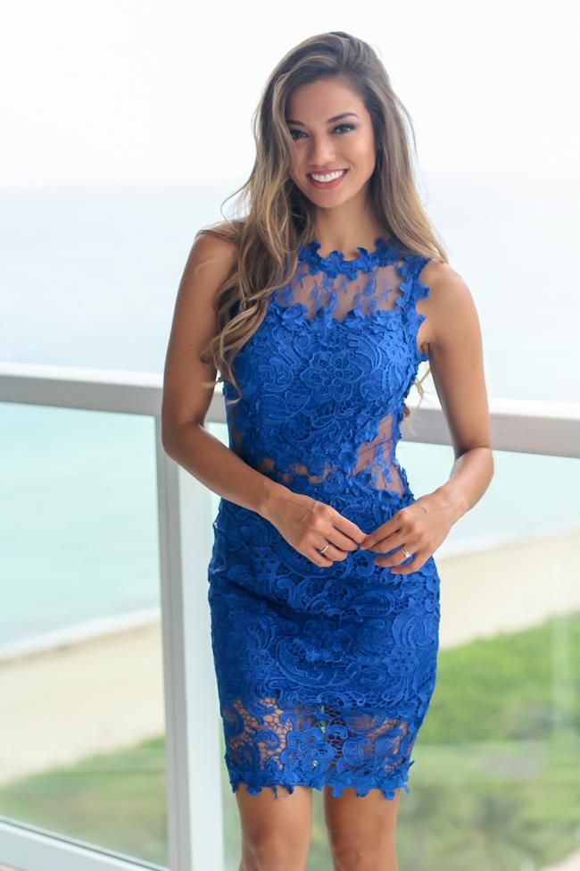 d1ff1aa57050 Royal Blue Lace Short Dress