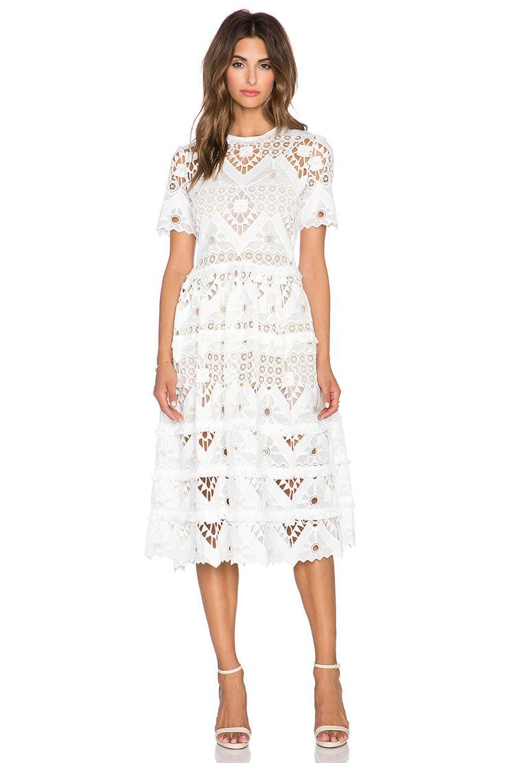 Alexis Benati Crochet Midi Dress In White Crochet 1