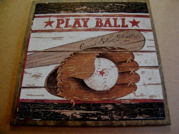BASEBALL Sports Boy Man Cave PLAY BALL Art Wall Room Sign 13x13 899 Via