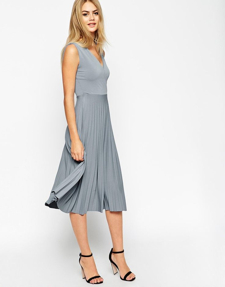 ASOS Midi Dress with Wrap Front and Pleated Skirt ...