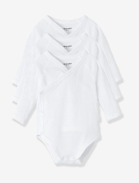 Lot de 3 bodies naissance pur coton manches longues Blanc - vertbaudet enfant