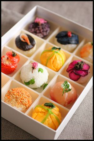 Temari-Sushi. Colorful and delicious...looks like a cross between nigirizushi and omusubi! More