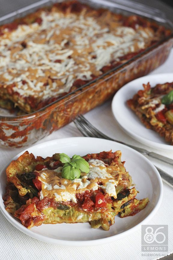 Awesome Vegan Lasagna with mushrooms, onions, zucchini, peppers, marinara and a garlic lemon-basil cashew sauce