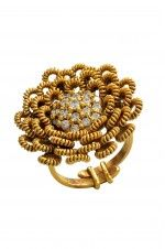 Tribebyamrapali-Silver Gold Plated Zircon Cluster Zardozi Floral Traditional Adjustable Ring