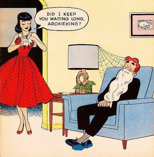 vintage cartoons of the 1950s | Veronica & Archie, http://gothicfeverdream.tumblr.com