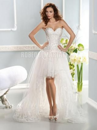 Traîne watteau robe de mariée romantique organza col en cœur [#ROBE208275] - robedumariage.com
