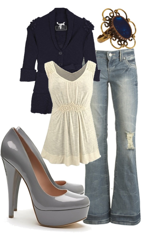 in love with this!!!: Shoes, Date Night, Shirts, Cute Outfits, Jackets, Jeans, Rings, Heels, The Navy