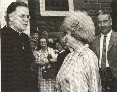 Elizabeth, Queen Mother, during a visit to Antigonish that included the opening of the Highland Games, 1967. Antigonish Heritage Museum collection, Antigonish