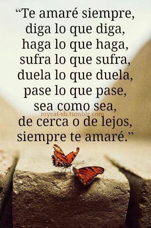 Te amaré siempre, diga lo que diga, haga lo que haga ... #Feeling #Quote