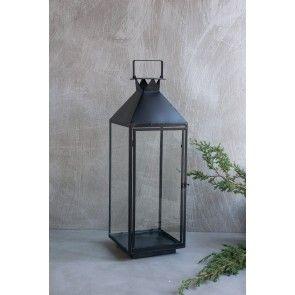 Lanterna grande in ferro nero e vetro