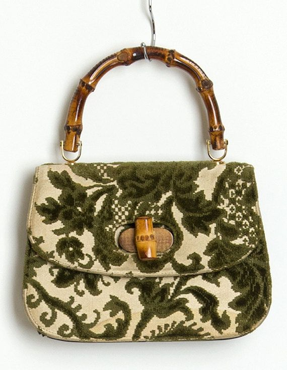 50's Vintage Purse - Green and Cream Tapestry with Wooden Handle