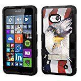 microsoft Lumia 640 case - [USA Flag Eagle]( Black / Black)UNIQUITI(TM) cell phone armor cover [TuMax] dual layer hybrid hard skin guard ultra protective shell (for microsoft Lumia 640 )