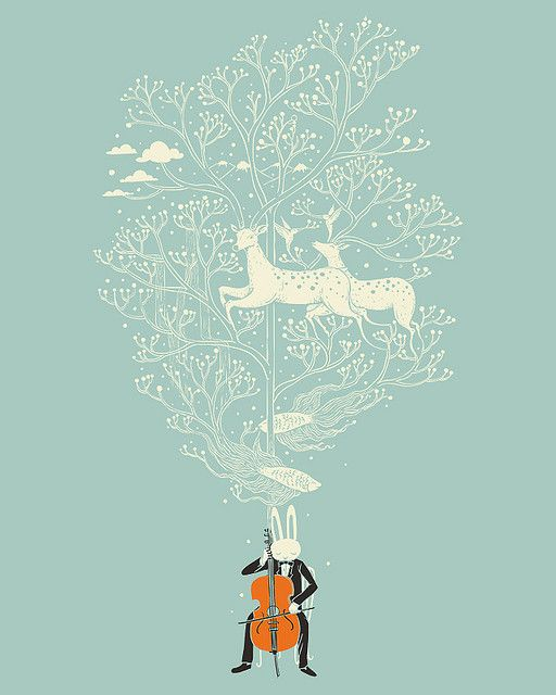 The Cellist by Heng Swee Lim at Flickr: I am a complete sucker for deer featured prominently in art.