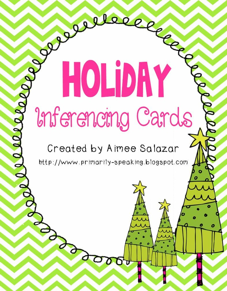 Holiday inferencing task card {freebie}