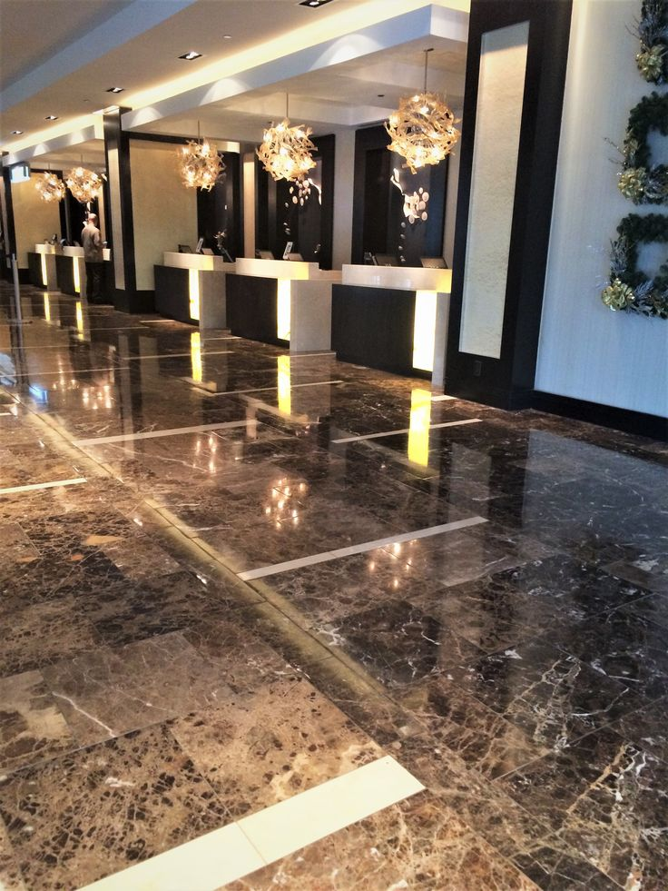 The Hyatt Regency Downtown New Orleans uses dark emperador marble with hints of crema marfil • • • check out our other hotels on our website: www.carrstone.com