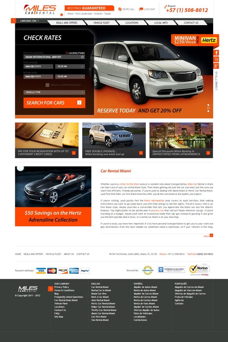 Miles Car Rental - Travel Website Development